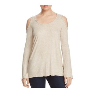 Elan Women's Ribbed Medium Cold Shoulder Blouse